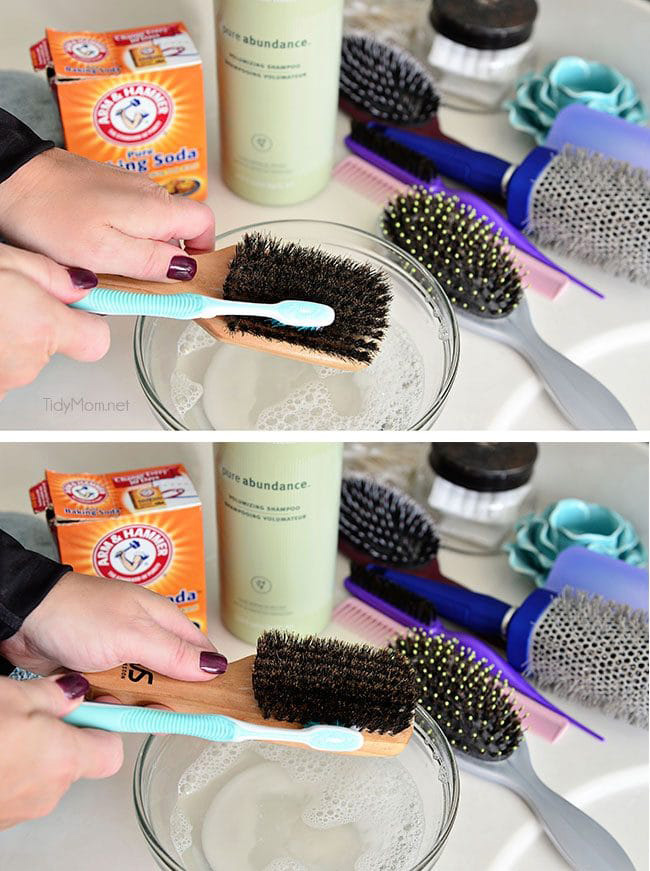 clean hairbrush with baking soda