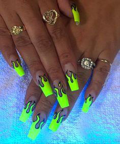 light yellow flame nails
