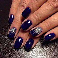 square silver and cobalt blue nail design