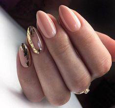 gold sequins oval nail design