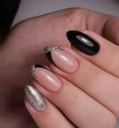 pink oval nail design
