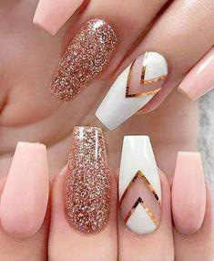 white cutout with golden glitter nails