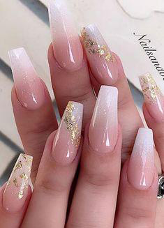 white with golden sequins nail design
