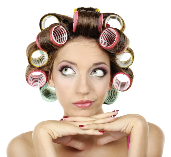 using curling rolls to scrunch hair
